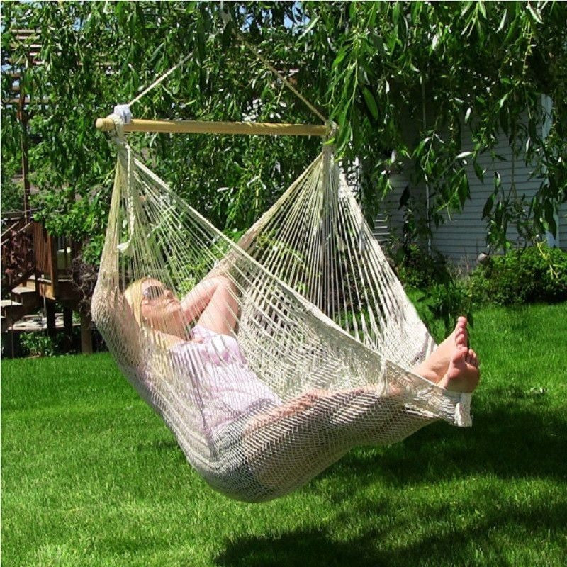 Large Mayan Chair Hammock With Wood Bar - Natural by Sunnydaze , Home & Garden > Lawn & Garden > Outdoor Living > Hammocks - Sunnydaze, Ruby Skies At Night - 1