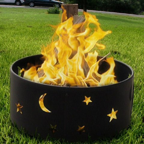 "Sunnydaze 23"" Cosmic Stars and Moon Fire Ring FR101 , Home & Garden > Fireplaces - Sunnydaze, Ruby Skies At Night - 1"