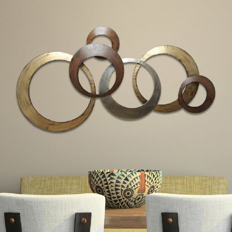 Stratton Home Decor Metal Wall Hanging Metallic Rings SPC-999
