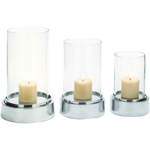Benzara Set Of 3 Aluminium Glass Candle Holder 27735