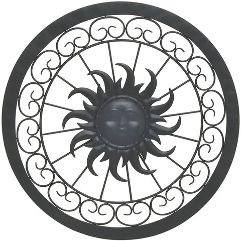 Benzara Inc 29009 Stunning Metal Sun Wall Decor Black