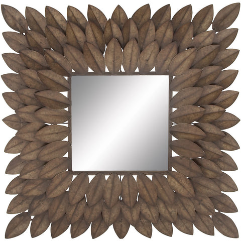 Benzara 48510 Square Metal Wall Mirror Rows of Leaves