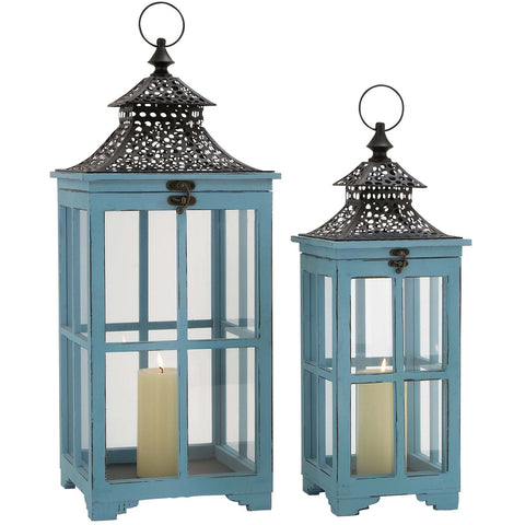 Benzara 50294 Set Of 2 Wood Metal Glass Lanterns Blue