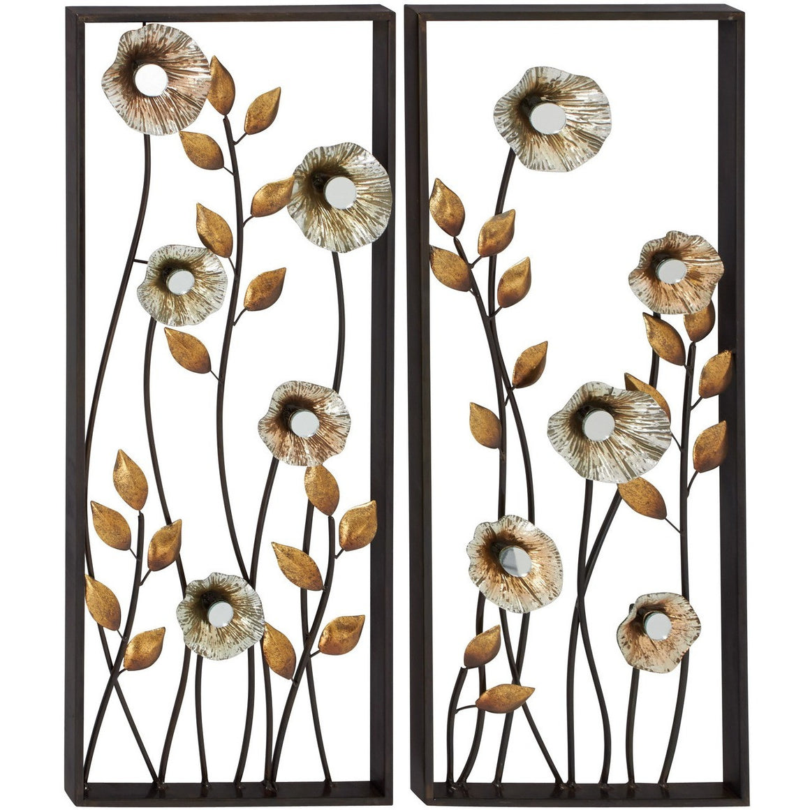 Benzara 54492 Set of 2 Flowers Metal Wall Decor