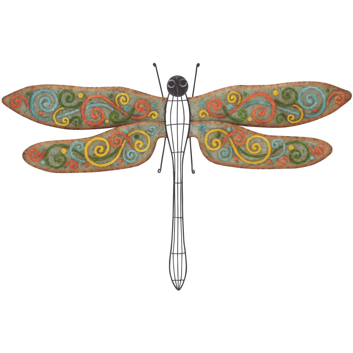 Benzara 56583 Colorful Metal Wall Dragonfly Art