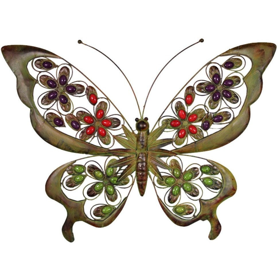Benzara Butterfly Metal Wall Art Decor with Stones