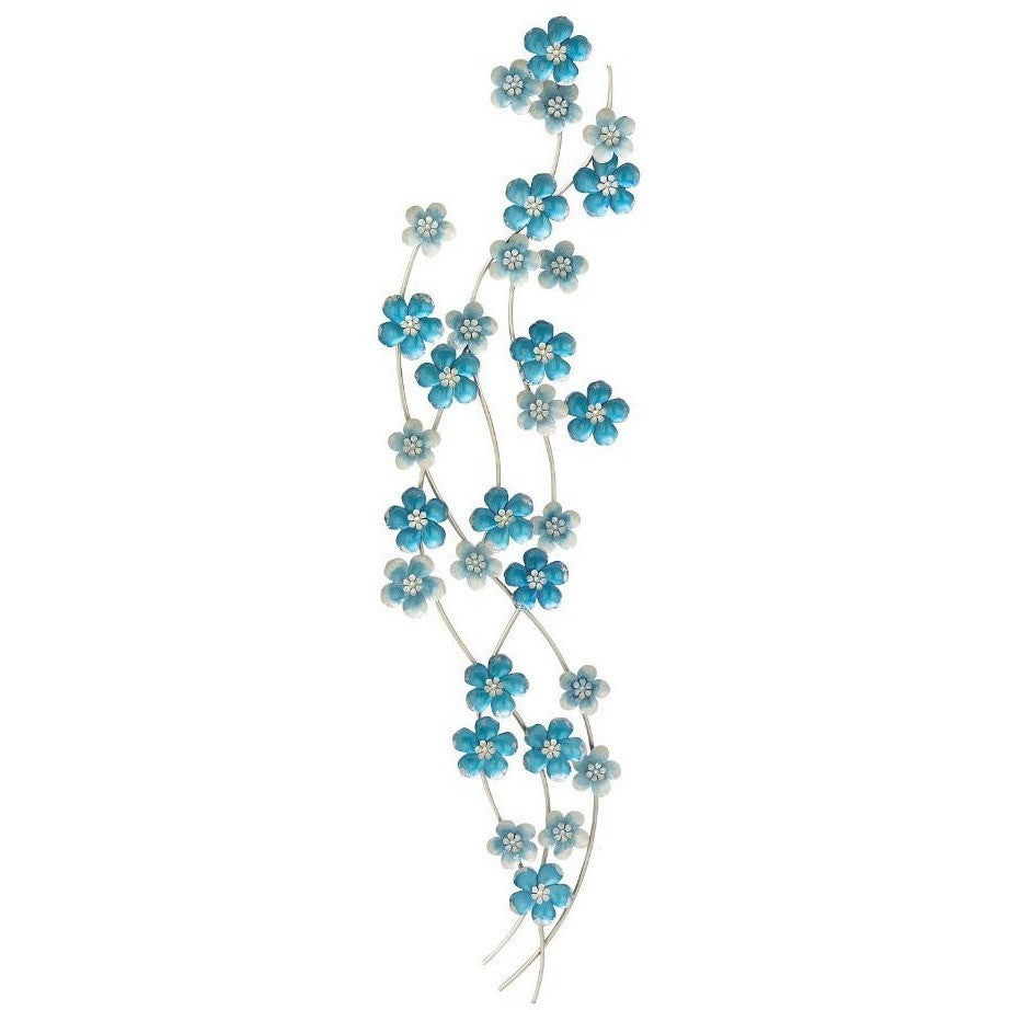 Benzara 23460 Blue Flower Metal Wall Art Decor