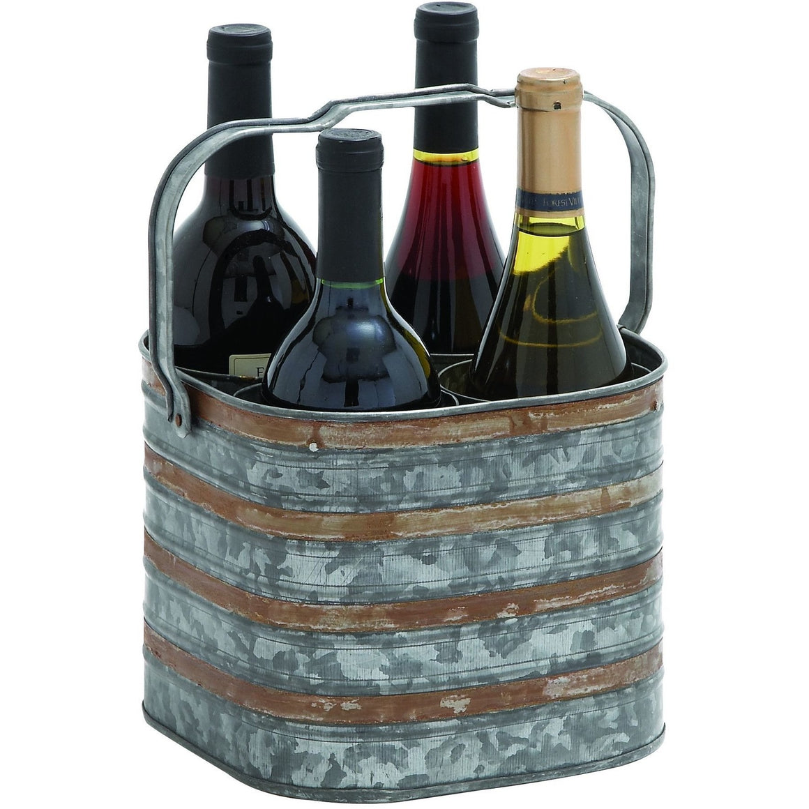 Rustic Metal Galvanized Four Bottle Wine Holder 38194