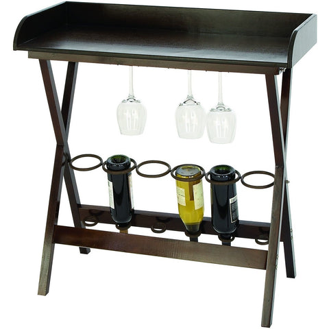 Benzara 53141 Wood Metal Wine Tray Table & Bottle Holder , Furniture > Cabinets & Storage > Wine & Liquor Cabinets - Benzara Inc, Ruby Skies At Night