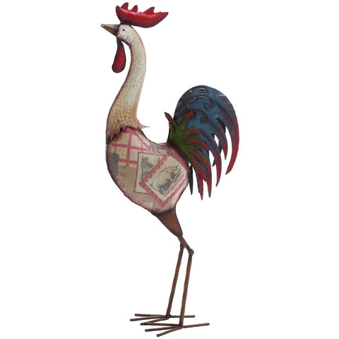 Benzara 55228 Multi Colored Metal Rooster