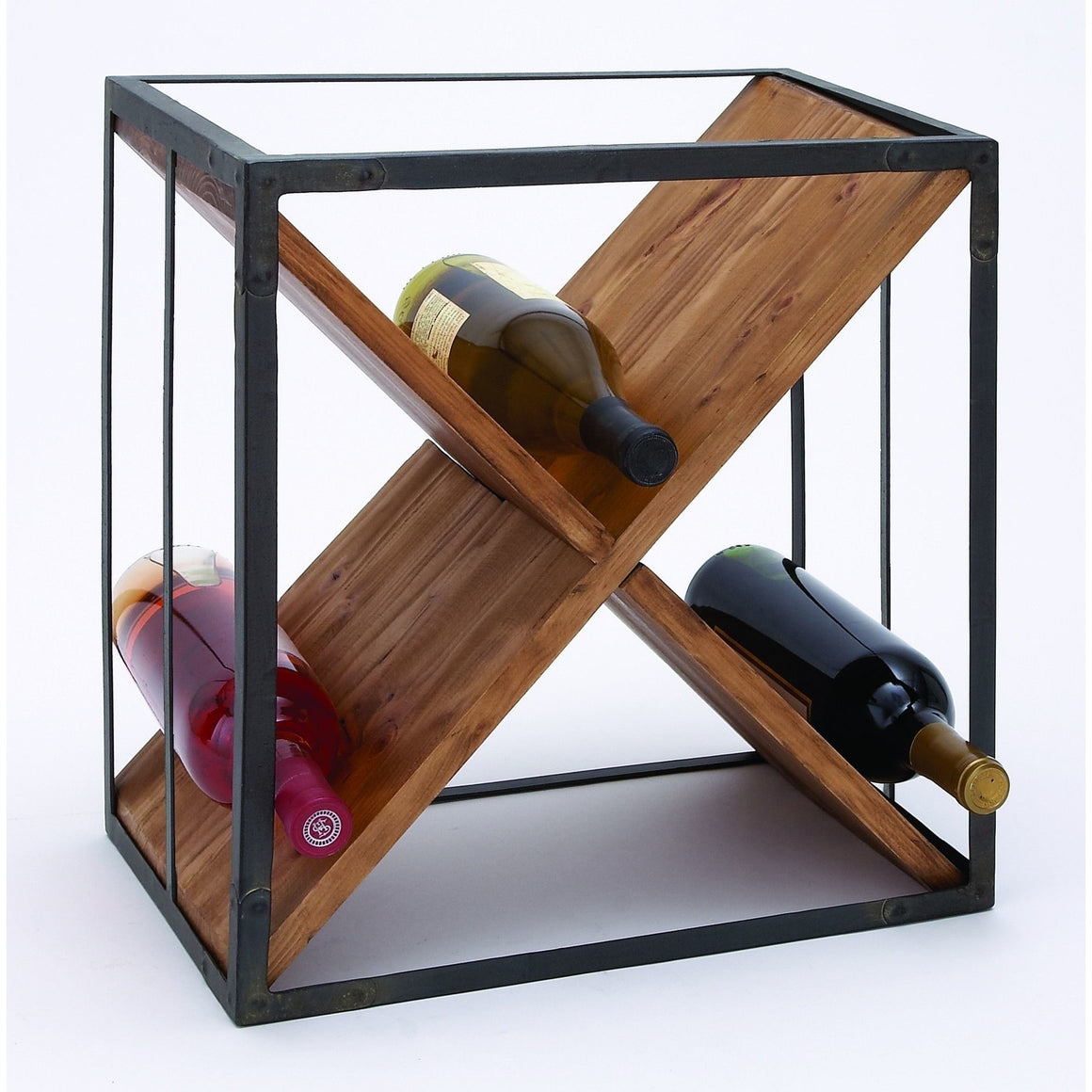 Benzara 63343 Sheet Metal Wood Wine Rack