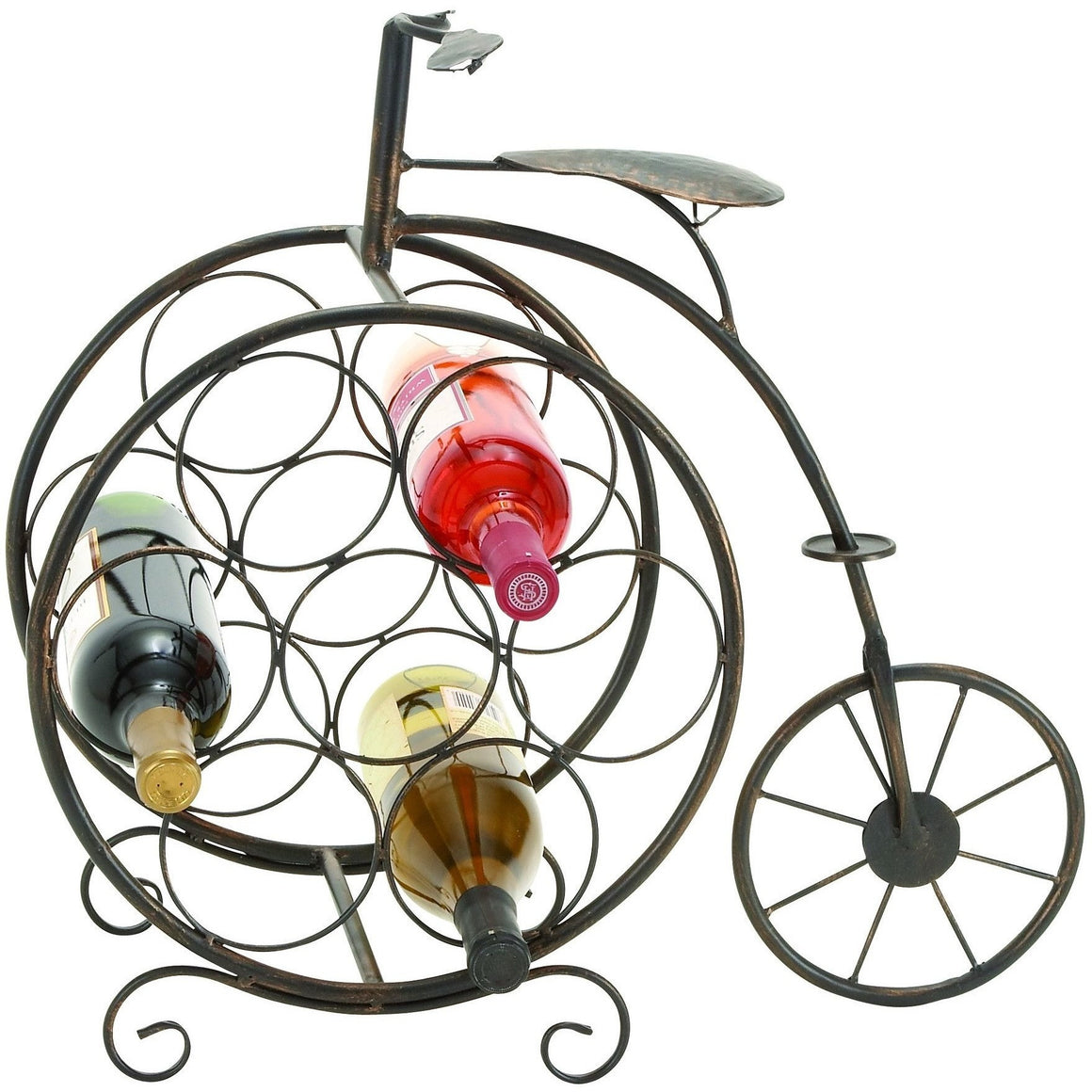 Benzara 65883 Whimsical Bicycle Wine Bottle Rack