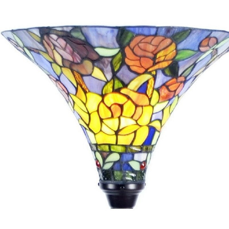 Warehouse of Tiffany Style Stained Glass Rose Torchiere Floor Lamp PS185+BB75B