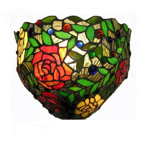 Warehouse of Tiffany 2158 Red Rose Stained Glass Wall Light Sconce