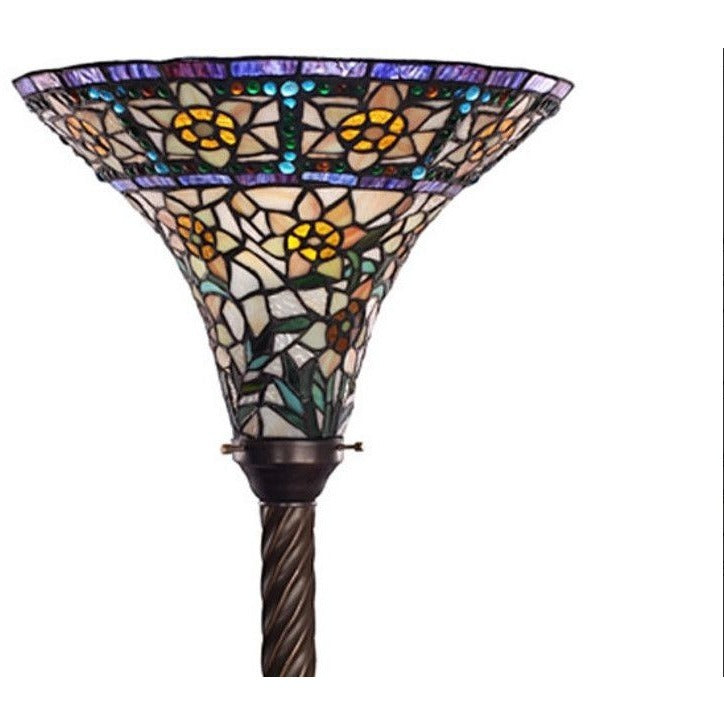 Warehouse of Tiffany 1845+BB75B Stained Glass Yellow Rose Star Torchiere Floor Lamp