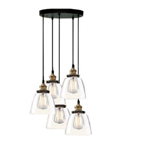 Euna 5 Light Adjustable Cord Edison Lamp with Bulbs LD4025-5