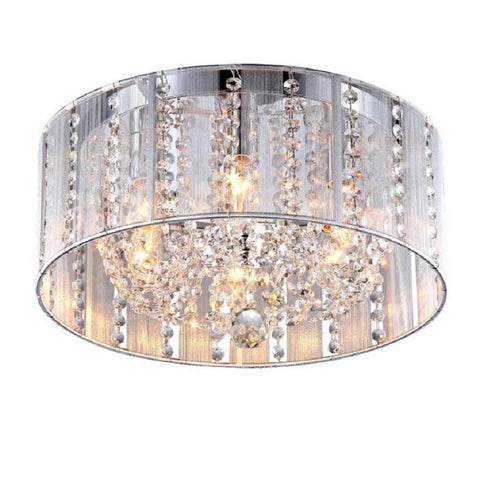 "Whse of Tiffany 1201/6Y Addison 6-Light White 16"" Crystal Flush Mount"