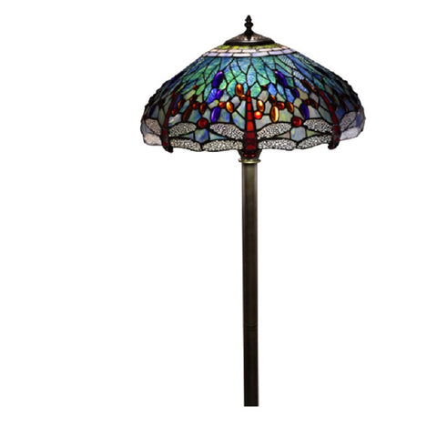 Tiffany Style Dragonfly Floor Lamp T18275TGRA/202 Stained Glass