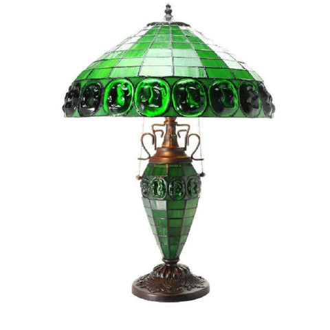 Leighton Double Lite Turtle Back Stained Glass Table Lamp 2000DBL-GREEN