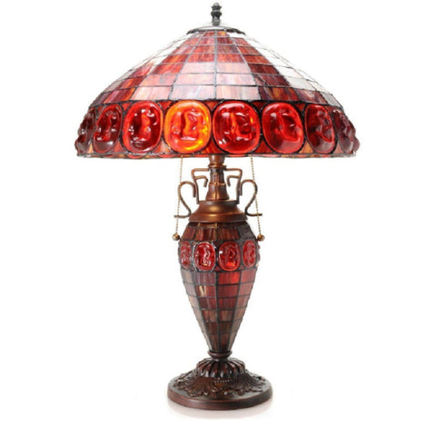 "Angie Double-lit Stained Glass 24"" Turtleback-style Table Lamp 2000DBL-RED"
