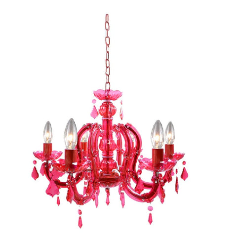 "Warehouse of Tiffany Eilonora Red Acrylic 20"" 6 Light Chandelier NS-120006R"