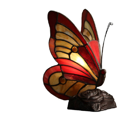 "Tiffany Style 626#V Everly Red Butterfly 10""Accent Lamp"