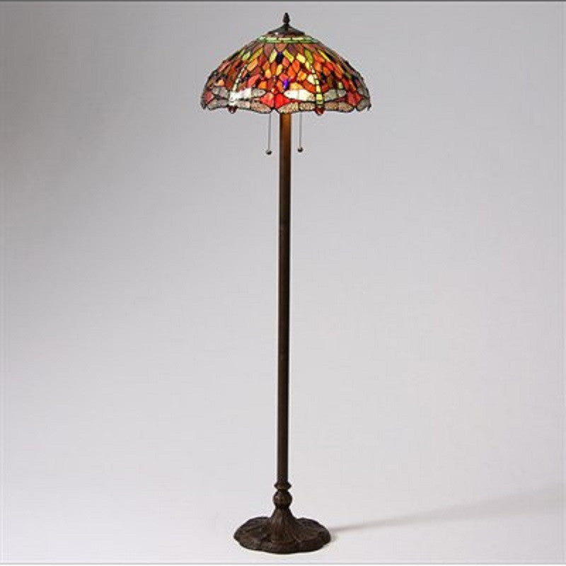 Whse of Tiffany T18202RED Tiffany-Style Dragonfly Floor Lamp
