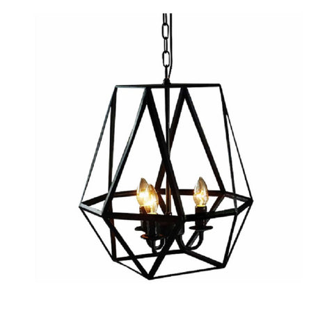 Shandie Antique Bronze Geometric Edison Chandelier with Bulbs LD4010