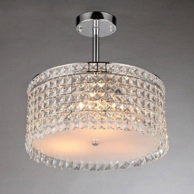 WOT X9118 Garcia Chrome and Crystal Round 4-light Chandelier