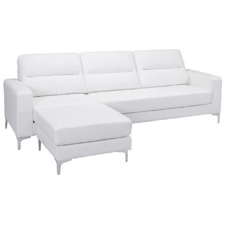 Zuo Modern 100233 Versa Sectional Sofa White Leatherette