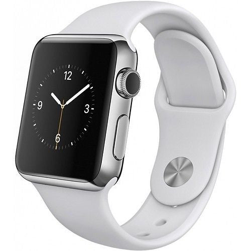 Apple Watch Series 1 38mm Stainless Steel Case - White Sports Band