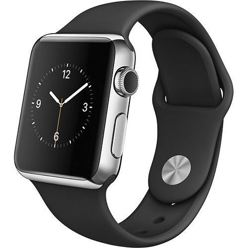 Apple Watch Series 1 42mm Stainless Steel Case - Black Sports Band