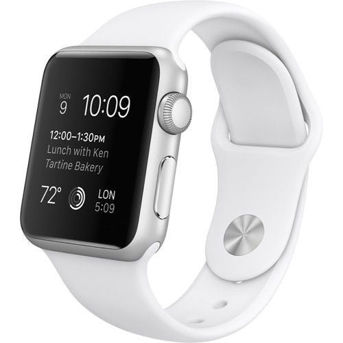 Apple Watch Series 1 Sport 38mm Silver Aluminum Case - White Sports Band