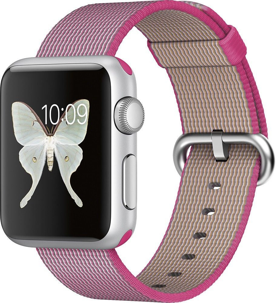 Apple Watch Series 1 Sport 38mm Aluminum Case - Pink Woven Nylon Band