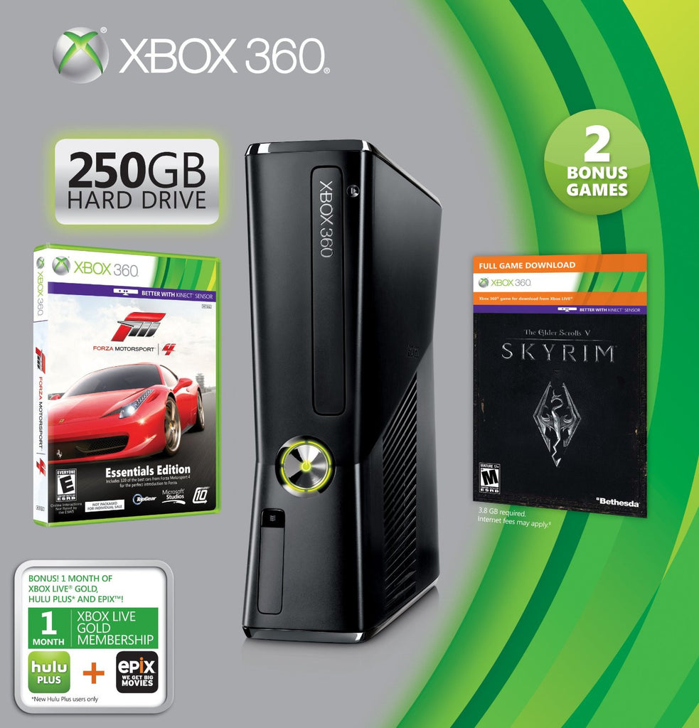 Xbox 360 250GB HOLIDAY BUNDLE Two Games Included