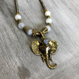 Gold Moonstone Elephant Necklace