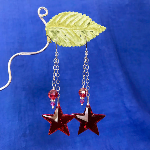 Ruby Star Earrings