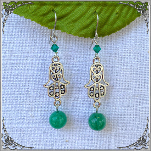 AVENTURINE HAMSA EARRINGS