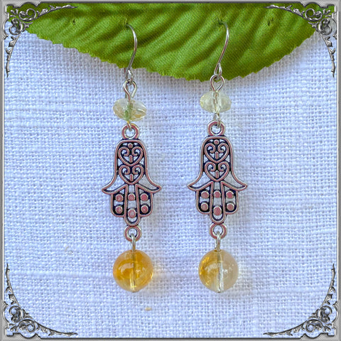 CITRINE HAMSA EARRINGS