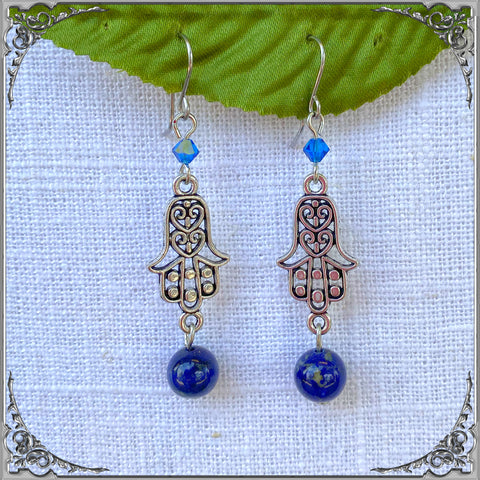 LAPIS LAZULI HAMSA EARRINGS