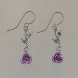 Purple Rose Earrings