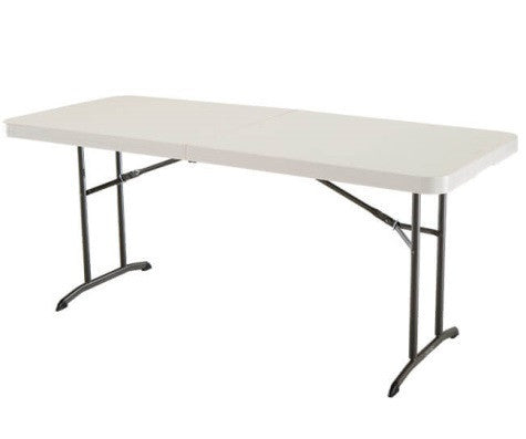 Lifetime 6 ft. Commercial fold-in-half table with handle