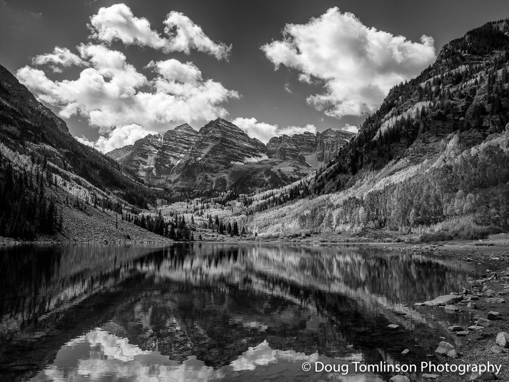 Afternoon at the Maroon Bells B&W - 1437