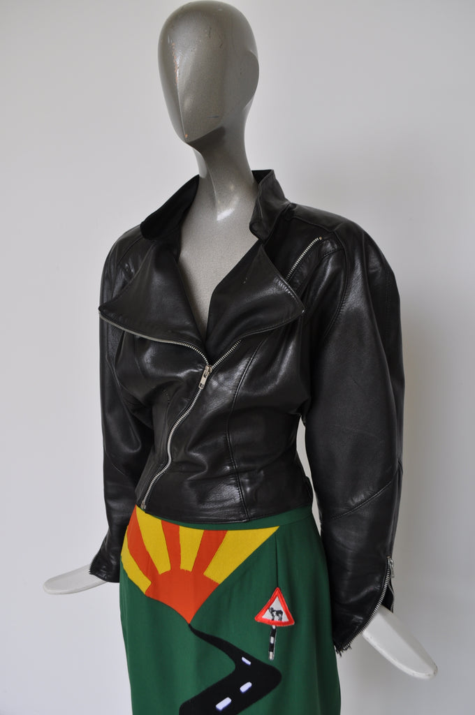 Moschino skirt with highway stitching 1980s Cheap and Chic