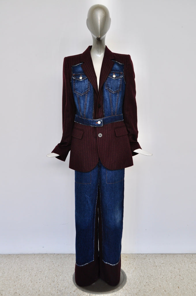 Jean Paul Gaultier pin striped /jeans suit late 80s