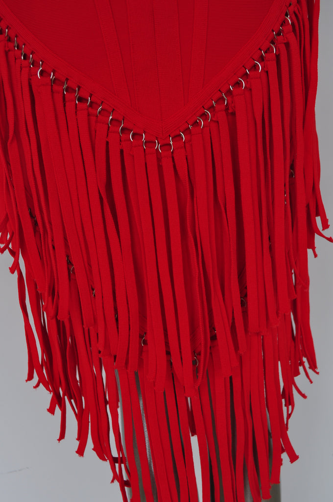 Sexy fringed dress vibrant red color unused designed by Vintage le Monde