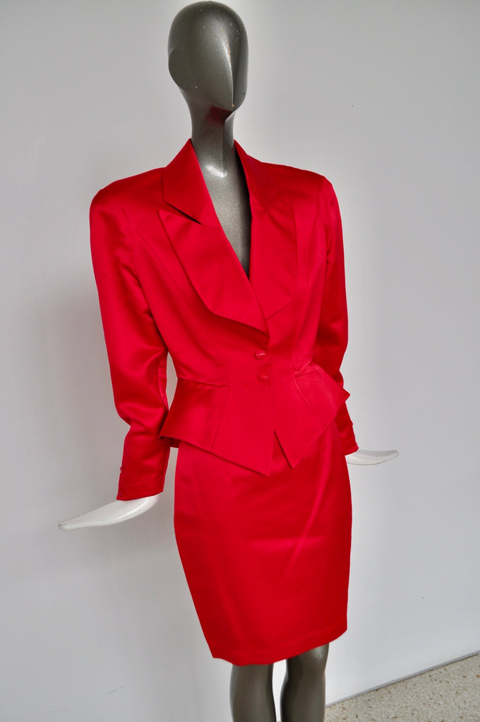 Thierry Mugler red satin costume small size