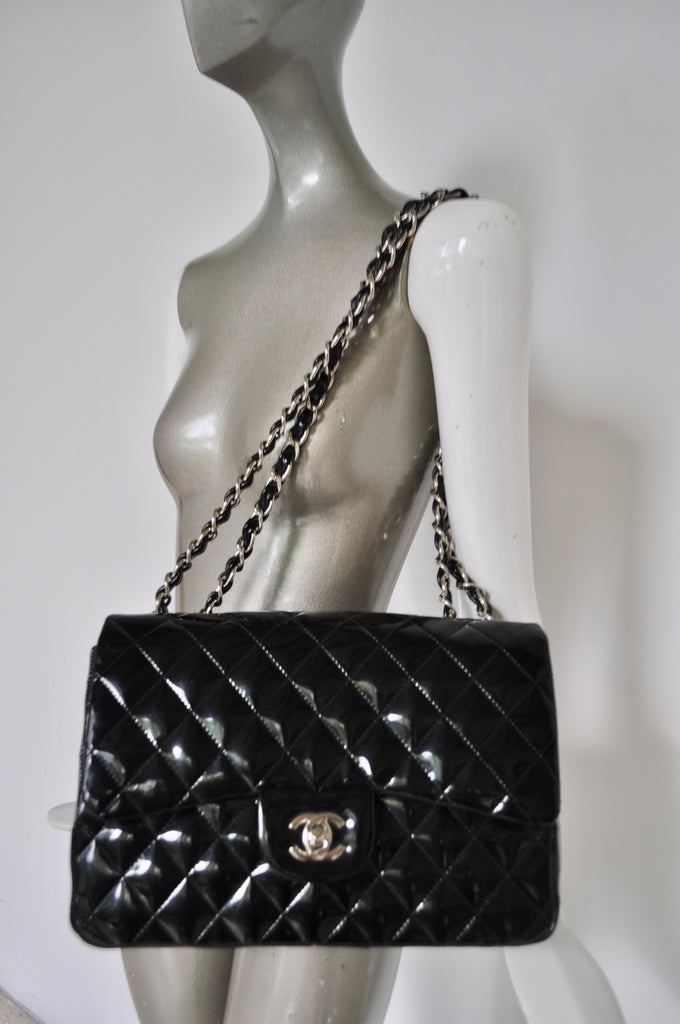 Chanel Mademoiselle patent leather bag large 80s