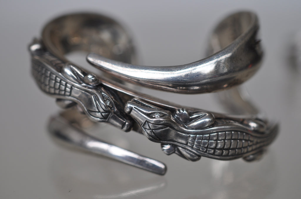 Barry Kieselstein Cord sterling bracelet and ring with alligator