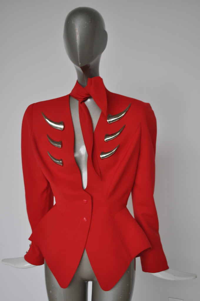 Rare Thierry Mugler fitted avantgarde jacket with metal appliqués